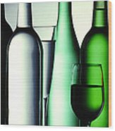 Colored Bottles Wood Print