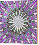 Colored Foil Lily Kaleidoscope Under Glass Wood Print