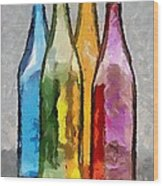 Colored Glass Bottles Wood Print