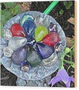 Colored Glass Shells Wood Print