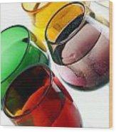Colored Glasses At An Angle Wood Print