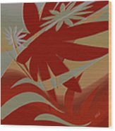 Colored Jungle Red Wood Print
