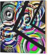 Colored Lines And Circles Art Over Black Wood Print by Mario Perez