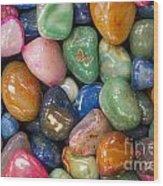 Colored Polished Rocks Wood Print