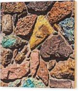 Colored Stone Rock Church Wall - Cedar City - Utah Wood Print