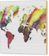Colored World Map Wood Print