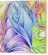 Colorful Abstract Drawing Wood Print