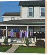 Colorful Amish Laundry On Porch Wood Print