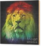 Colorful Artistic Portrait Of A Lion On Black Background  Wood Print