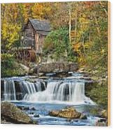 Colorful Autumn Grist Mill Wood Print