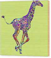Colorful Baby Giraffe Wood Print