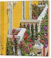 Colorful Balconies Wood Print