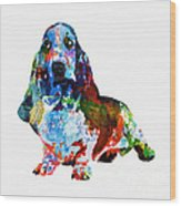 Colorful Basset Wood Print