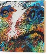 Colorful Bear Art - Bear Stare - By Sharon Cummings Wood Print