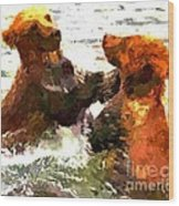 Colorful Bears Wood Print