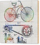 Colorful Bike Art - Vintage Patent - By Sharon Cummings Wood Print