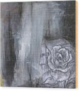 Colorful Black And White Rose Wood Print
