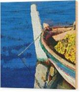 Colorful Boat Wood Print