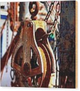 Colorful Boat Pully Wood Print