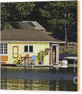 Colorful Boathouse Wood Print