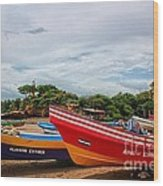 Colorful Boats And Lighthouse Wood Print