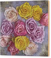 Colorful Bouquet Of Roses Wood Print