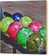 Colorful Bowling Balls Wood Print