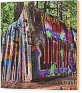 Colorful Box Car In The Forest Wood Print