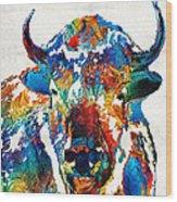 Colorful Buffalo Art - Sacred - By Sharon Cummings Wood Print
