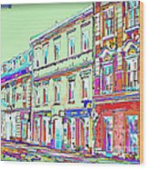 Colorful Buildings Wood Print