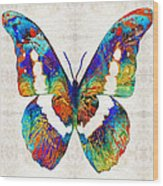 Colorful Butterfly Art By Sharon Cummings Wood Print