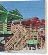 Colorful Cabanas Wood Print