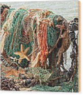 Colorful Catch - Starfish In Fishing Nets Square Wood Print