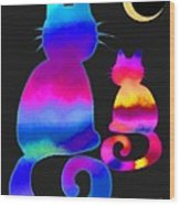 Colorful Cats And The Moon Wood Print