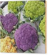 Colorful Cauliflower Wood Print