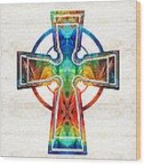 Colorful Celtic Cross By Sharon Cummings Wood Print