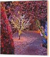 Colorful Christmas Lights On Trees Wood Print