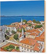 Colorful City Of Zadar Rooftops  Towers Wood Print
