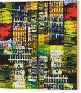 Colorful City Scene Wood Print