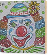 Colorful Clown Wood Print