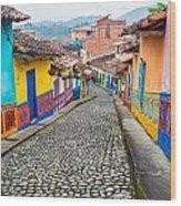 Colorful Cobblestone Street Wood Print