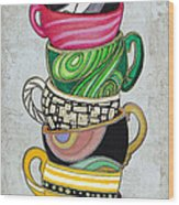 Colorful Coffee Cups Mugs Hot Cuppa Stacked II By Romi And Megan Wood Print