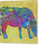 Colorful Cow Abstract Art Wood Print