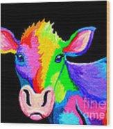 Colorful Cow-cow-a-bunga Wood Print by Nick Gustafson
