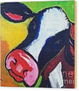 Colorful Cow Wood Print