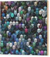 Colorful Cubes Wood Print