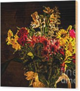 Colorful Cut Flowers In A Vase Wood Print