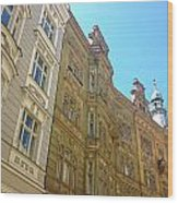 Colorful Czech Buildings II Wood Print