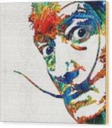 Colorful Dali Art By Sharon Cummings Wood Print