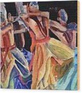 Colorful Dancers Wood Print